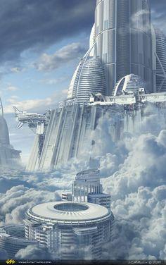 Skyship Cove by Juan Carlos Mesa Machin Cyberpunk City, Ville Cyberpunk, Futuristic City, Futuristic Architecture, Chinese Architecture, Architecture Office, Fantasy City, Fantasy Places, Sci Fi Fantasy