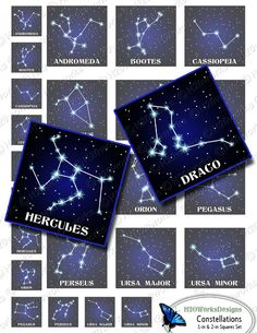 Popular Constellations - Stars, 1x1 & 2x2 Squares Digital Collage Sheet by H20worksDesigns