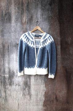 GREY ICELANDIC CARDIGAN Fair Isle Nordic style by GloriousMorn, $42.00 Fair Isle Knitting, Knitting Yarn, Hand Knitting, Norwegian Knitting, Icelandic Sweaters, Nordic Sweater, Shetland Wool, Hand Knitted Sweaters, Nordic Style