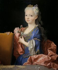 The painting shows a young Maria Anna Victoria of Spain, future Queen of Portugal, wearing the royal outfit of a Spanish Infanta.