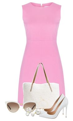 """""""Pink Dress"""" by catfashionlover26 ❤ liked on Polyvore featuring Diane Von Furstenberg, G.H. Bass & Co., Gucci, Gianvito Rossi and Allurez"""