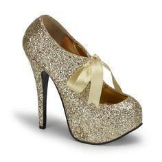 "5 3/4"" Gold Glitter Pumps w/Ribbon Lace - literally stripper shoes."