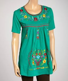 edd31a7ae0 Green  amp  Fuchsia Floral Embroidered Scoop Neck Tunic