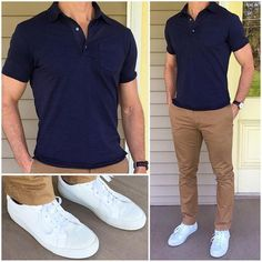 Clasic polo, khaki chinos, and crisp white sneakers