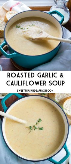 Roasted Garlic & Cauliflower Soup with Anchovy Butter Toasts