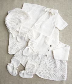 How to knit our classic baby layette comprising matinee coat, vest, bonnet, bootees, mittens and shawl