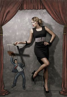 She is pulling his strings  (Art by Nithin Rao Kumblekar)