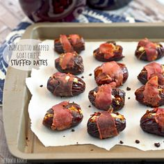 Prosciutto Wrapped Goat Cheese Stuffed Dates are the perfect party appetizer! Small little bites of deliciousness! Easy and yummy.