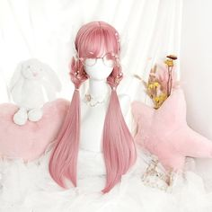 Women Pink Wigs Lace Front Hair Pink And Blue Wig Blonde Hair With Baby Pink Highlights Rita Pink Hair – tomatoral Lolita Cosplay, Cosplay Hair, Cosplay Wigs, Kawaii Cosplay, Cosplay Style, Kawaii Hairstyles, Cute Hairstyles, Straight Hairstyles, Casual Hairstyles