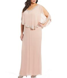Jkara Plus Size Beaded Trim Asymmetrical Popover Gown - Mother Of The Bride Plus Size, Mother Of The Bride Suits, Plus Size Brides, Mother Of Bride Outfits, Plus Size Gowns Formal, Wedding Dresses Plus Size, Elegant Wedding Dress, Mob Dresses, Plus Size Dresses