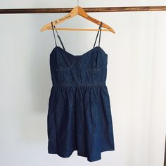 """Free People Denim Dress Free People Denim Dress.  Skinny adjustable straps, side zip.  Back has stretch panel.  From top of strap to bottom measures 33.5"""". Never worn, tags off. Free People Dresses"""