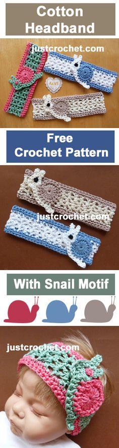 Free sweet newborn crochet pattern for headband, add a snail for extra cuteness. #crochet