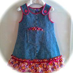 Girls Dress Denim Upcycled 4T 4 by 8th Day Studio by 8thDayStudio