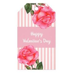 Watercolor Pink Rose Polka Dot Valentines Day Gift Tags - watercolor gifts style unique ideas diy