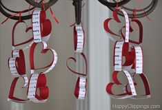 VALENTINE'S DAY...I love easy paper crafts! These are perfect for the dining room chandelier!