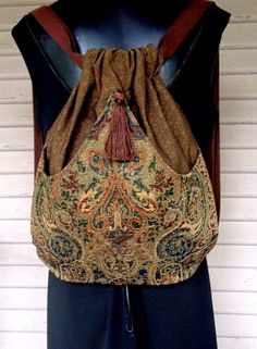 Tapestry Drawstring Backpack  Brown backpack by piperscrossing
