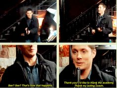 [GIFSET] Jensen behind the scenes of Dead Men Don't Wear Plaid.