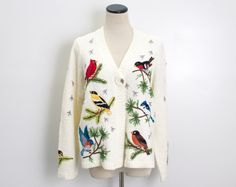 VTG 90's Birds Cardigan (Medium / Large) Feathered Friends Knit Sweater Cardinal Robin Bluebird Applique Embroidered Novelty Kitsch Vintage Sweater