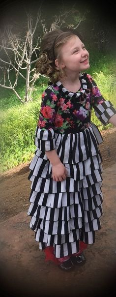 NEW! Pre-order now! Girls Floral and Stripe Ruffle Layered Dress Sizes XS-XL