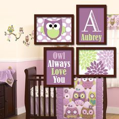 Owl Theme Monogram Child Name Purple Green Choose Any By Trmdesign 35 00 Themed Nursery