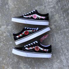 85ed5baf71 Vans Custom Vans Shoes Custom Vans Floral Vans Vans Rose Vans Shoes... (