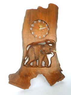 Handmade Natural Teak Wood Carving Elephant With by WoodCarvingArt, $160.00