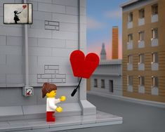 What would it look like if Banksy's most famous street art pieces were reimagined in LEGO? What would the balloon girl look like and how would the rat on t