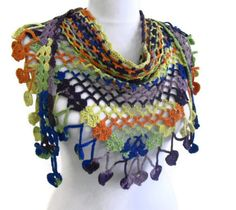 Items similar to Crocheted Multi Color Lace Scarf ,Holiday Accessories, winter trends, fashion, 2014 unique gift on Etsy Crochet Scarves, Crochet Shawl, Diy Crochet, Crochet Crafts, Crochet Clothes, Baby Girl Crochet, Lace Scarf, Scarf Jewelry, Fashion 2014