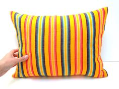 Mexican Cushion Cover - 12x16 Yellow Stripes  Aztec Pillow - Tribal Home Decor - Bedding  - Embroidered Cambaya Fabric Housewares