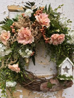 Spring Wreath for Front Door Easter Wreath by FlowerPowerOhio