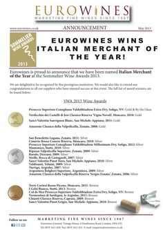 Our success at the Sommelier Wine Awards 2013