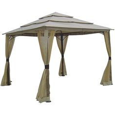 10 FT x 10 FT Outdoor Steel Frame Gazebo with Mosquito Netting Screen & Canopy