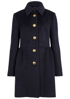 RED Valentino navy alpaca blend coat Front slip pockets, button-fastening throat tab, fully lined Button fastenings through front 46% alpaca, 34% wool, 10% polyamide; lining: 67% acetate, 33% polyester