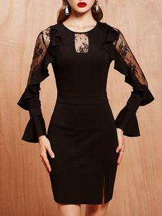#AdoreWe #StyleWe Dresses - MASKED QUEEN Elegant Bodycon Mesh Paneled Frill Sleeve Mini Dress - AdoreWe.net