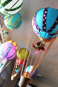 Adorable hot air balloons made from lanterns