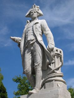 Memorial statue of Captain James Cook at Marton, Middlesbrough, where the Yorkshireman, legendary British Naval explorer, was born and raised. Scouts, Monuments, Pet Taxi, Captain James Cook, Statues, Great North, Northern England, Bonnie N Clyde, Middlesbrough