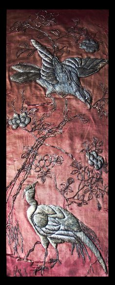 Antique French Metallic Embroidery Silk, Chateau Wall Hanging, 1820s.