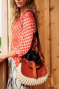 As Seen in Vogue. Leather and crochet cotton cord bag, hand-made in Brazil.