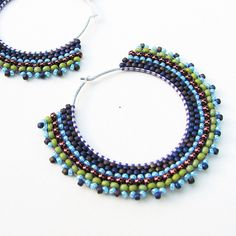 Moss Green Tribal Hoops Sterling Silver with Striped Beadwork by sylviawindhurst, via Flickr