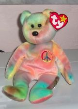 PEACE bear original Ty Beanie Baby, Retired, unused condition