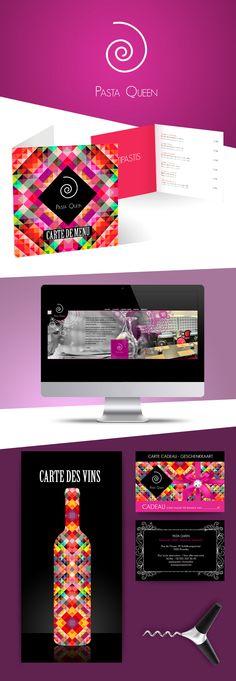 Pasta Queen - Création du logo, carte de menu, site internet, carte de vin, carte de fidélité Site Internet, Creations, Branding, Queen, Logo, Inspiration, Menu Boards, Wine, Projects