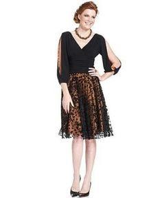 Jessica Howard, Three-Quarter-Split-Sleeve Ruched A-Line Cocktail Dress. Visit Page - http://www.ebay.com/itm/-/121715750255?roken=cUgayN