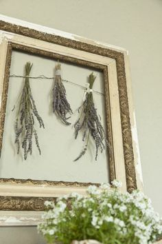 dried lavender portrait. can also hang herbs, dried flowers, silk flowers....