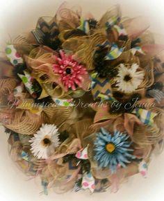Deco mesh spring summer floral wreath.