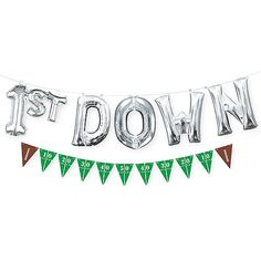 Decorate your space on game-day with this Air-Filled Down Letter Balloons with Football Pennant Banner. The silver, air-filled foil letter balloons spell out 1 Year Old Birthday Party, Boys First Birthday Party Ideas, Birthday Themes For Boys, Baby Boy First Birthday, Boy Birthday Parties, First Birthday Balloons, Birthday Photos, Football Party Supplies, Kids Football Parties
