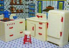 """Renwal Complete Kitchen Set Vintage Dollhouse Furniture 3 4"""" Fits Ideal Marx   eBay"""