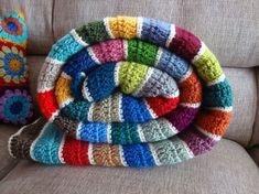 Stripes of Love blanket --- simple triple crochet pattern- I like the white separating colors