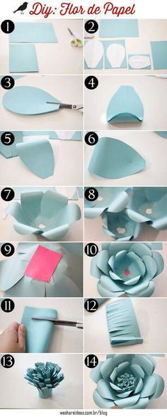"""Discover thousands of images about como fazer flores de papel para festas passo a passo"", ""Discover thousands of images about DIY Giant Paper flowers Giant Paper Flowers, Diy Flowers, Flower Diy, Flowers Decoration, Wedding Flowers, Origami Flowers, Paper Roses, Origami Decoration, Flower Ideas"