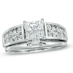 1-5/8 CT. T.W. Princess-Cut Diamond Bridal Set in 14K White Gold
