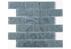 Ripple Aqua Sparkle Mosaic 4.8x9.8cm. Ideal for Kitchen splashbacks or as a border in a bathroom. £13.95 per sheet